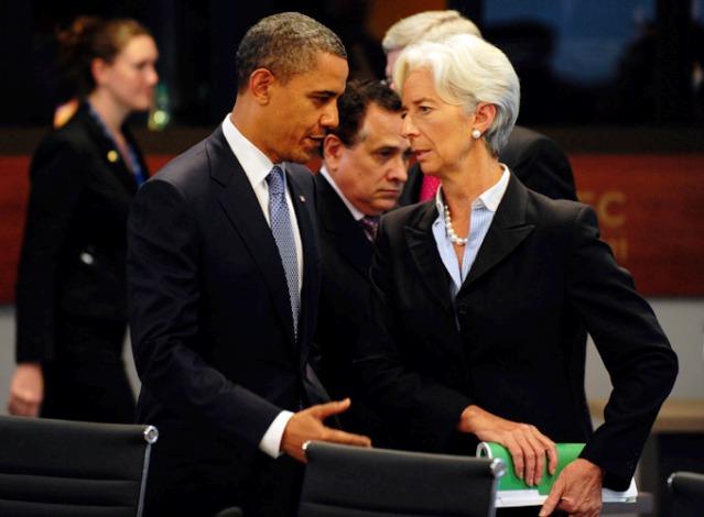 /Christine Lagarde Directeur du FMI, avec Obama